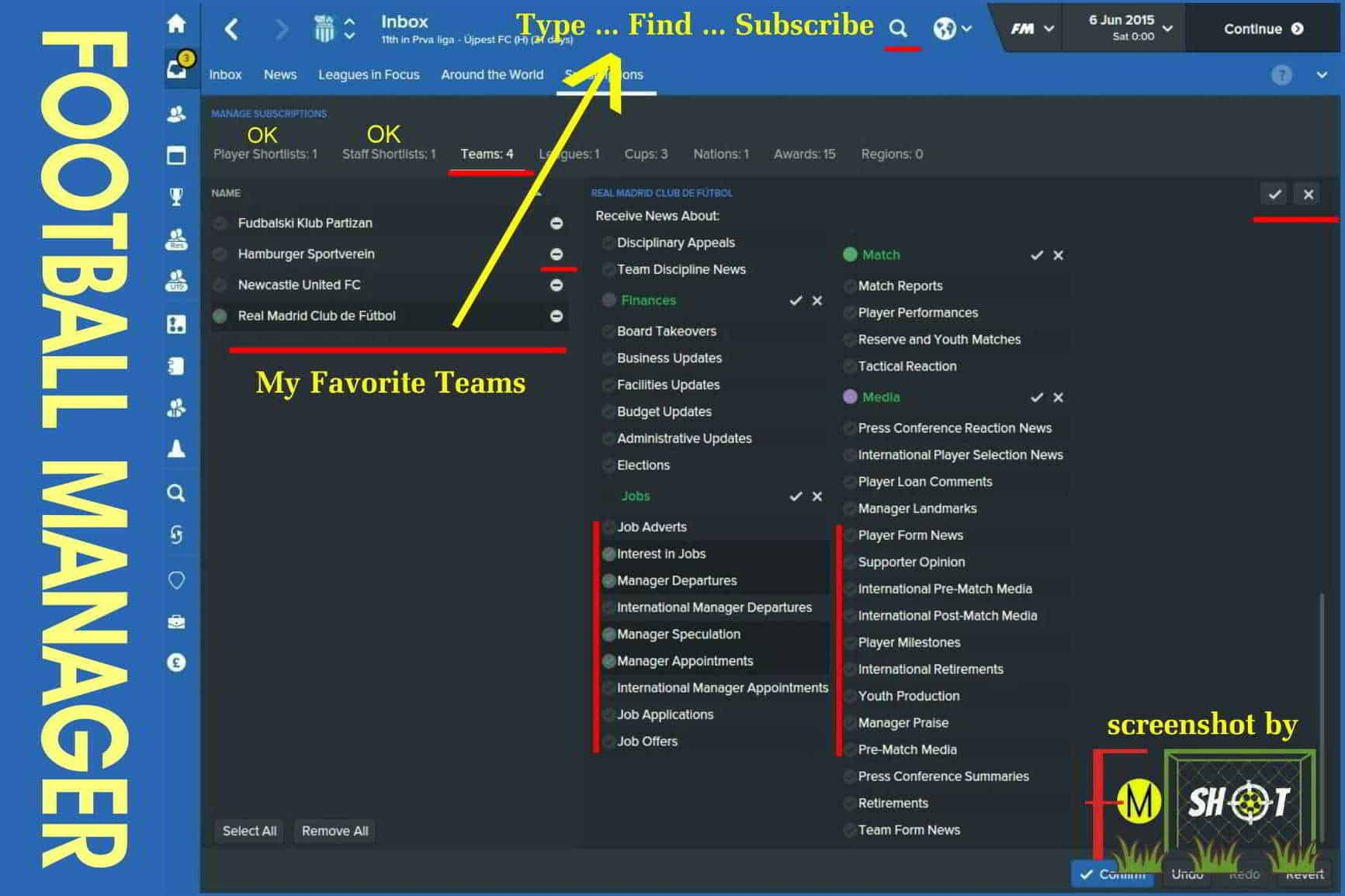 Subscriptions - Teams in FM 2016