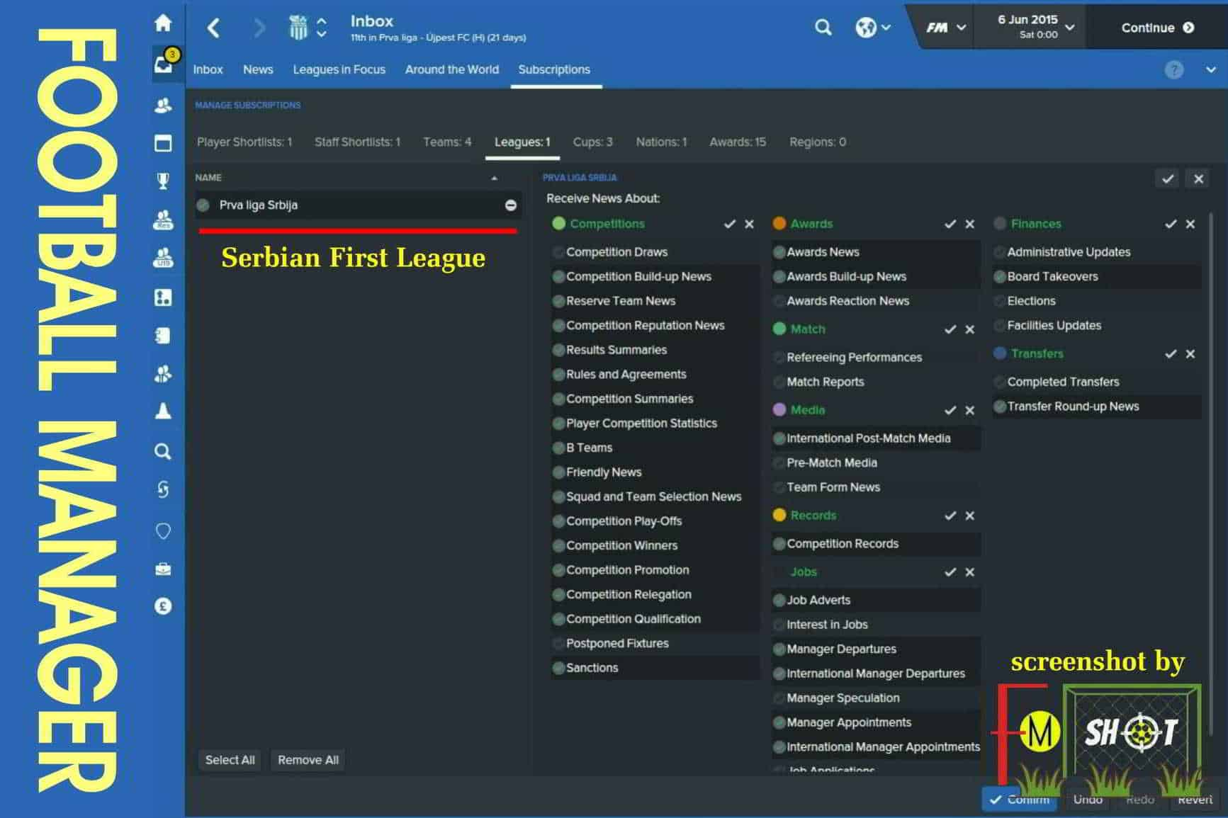 Subscriptions - Leagues in FM 2016