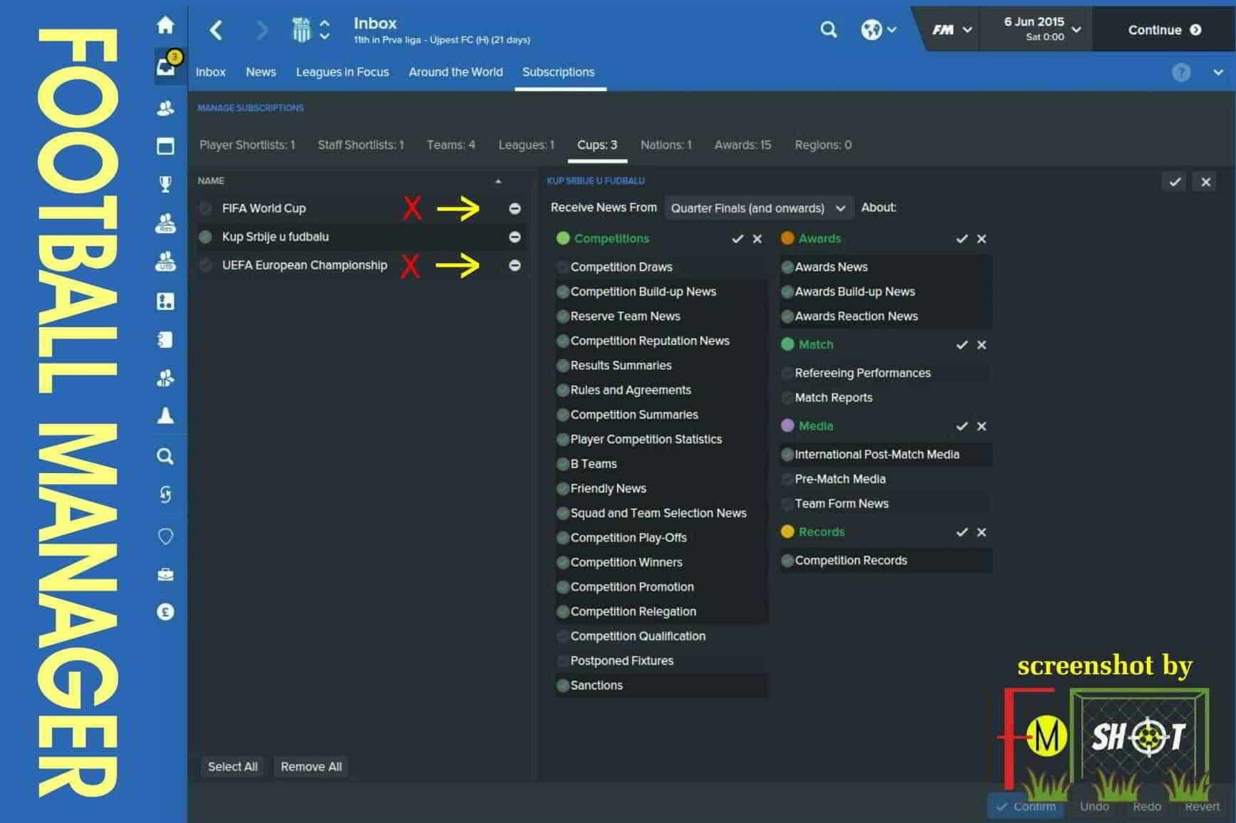 Subscriptions - Cups in FM 2016