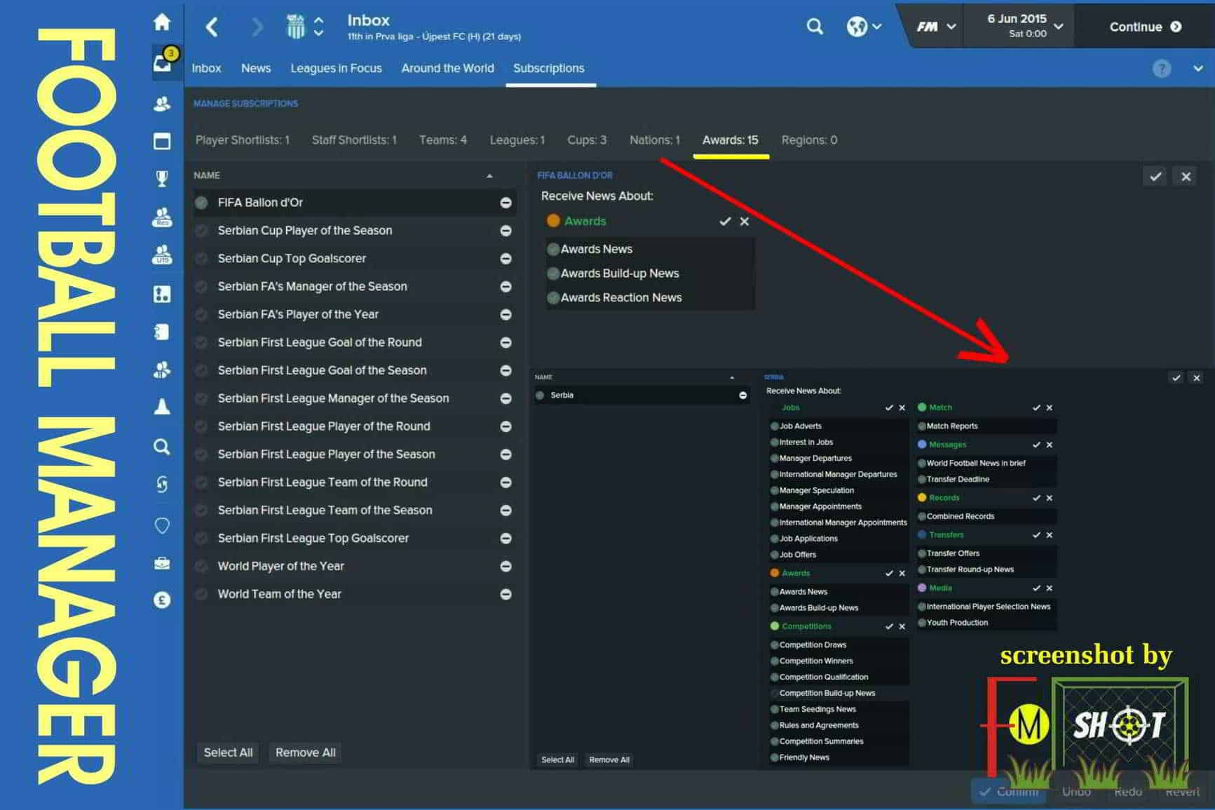 Subscriptions - Awards and Nations in FM 2016