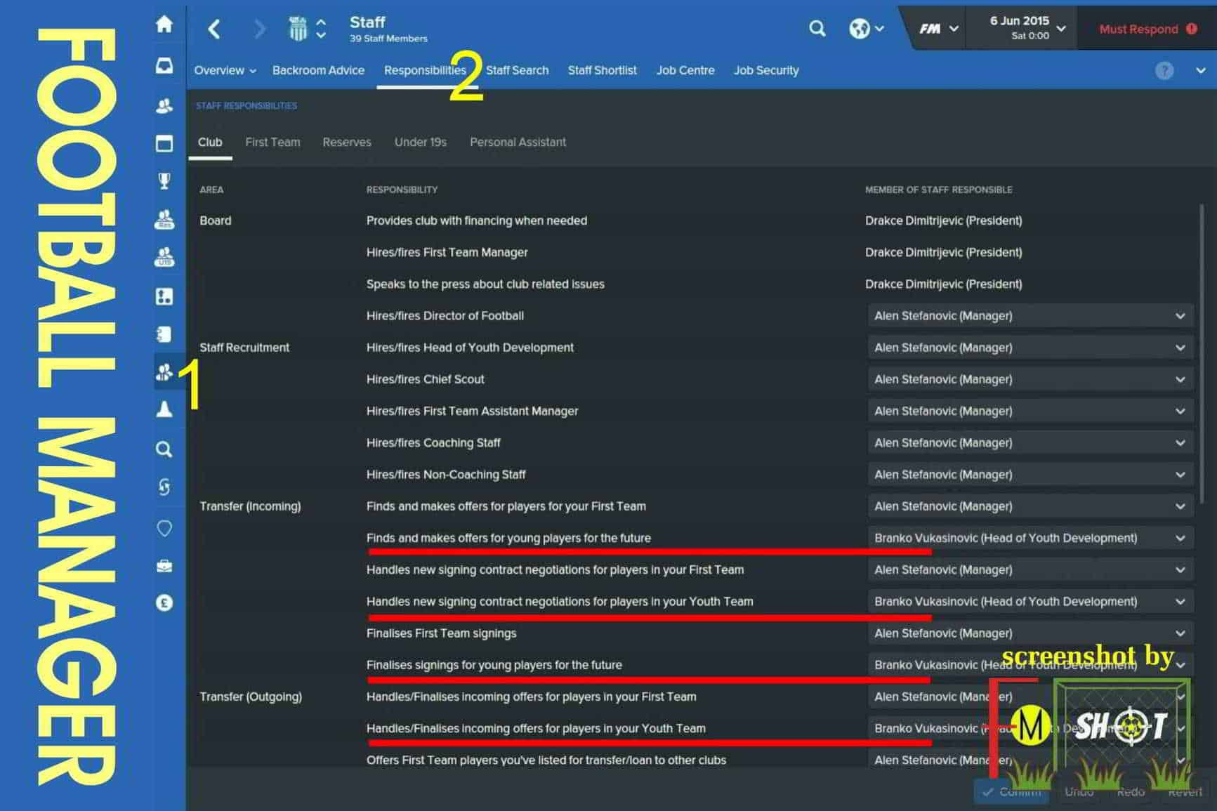 FM Responsibilities - Head of Youth Development