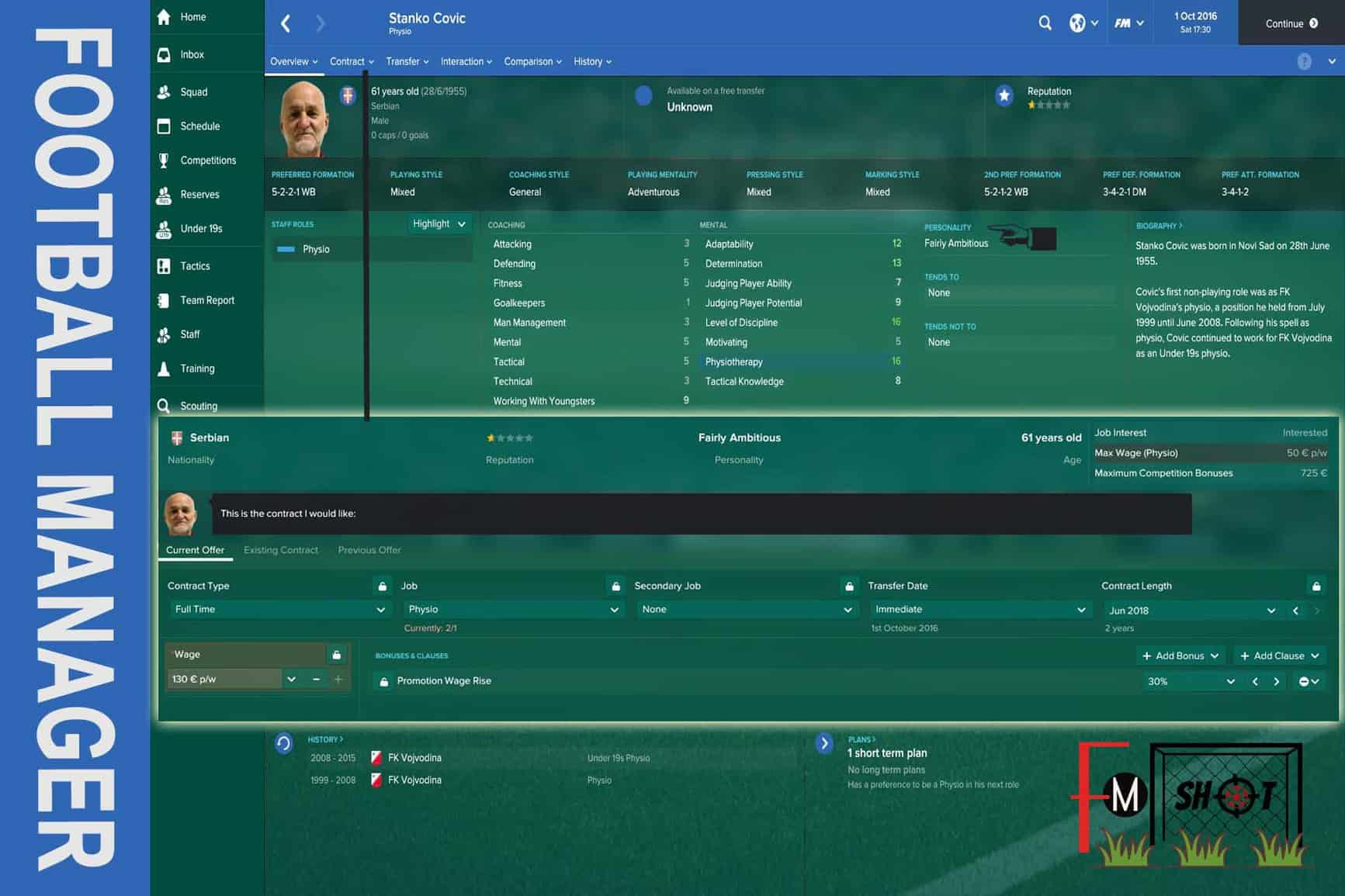 Personality and Contract Offer in FM 17