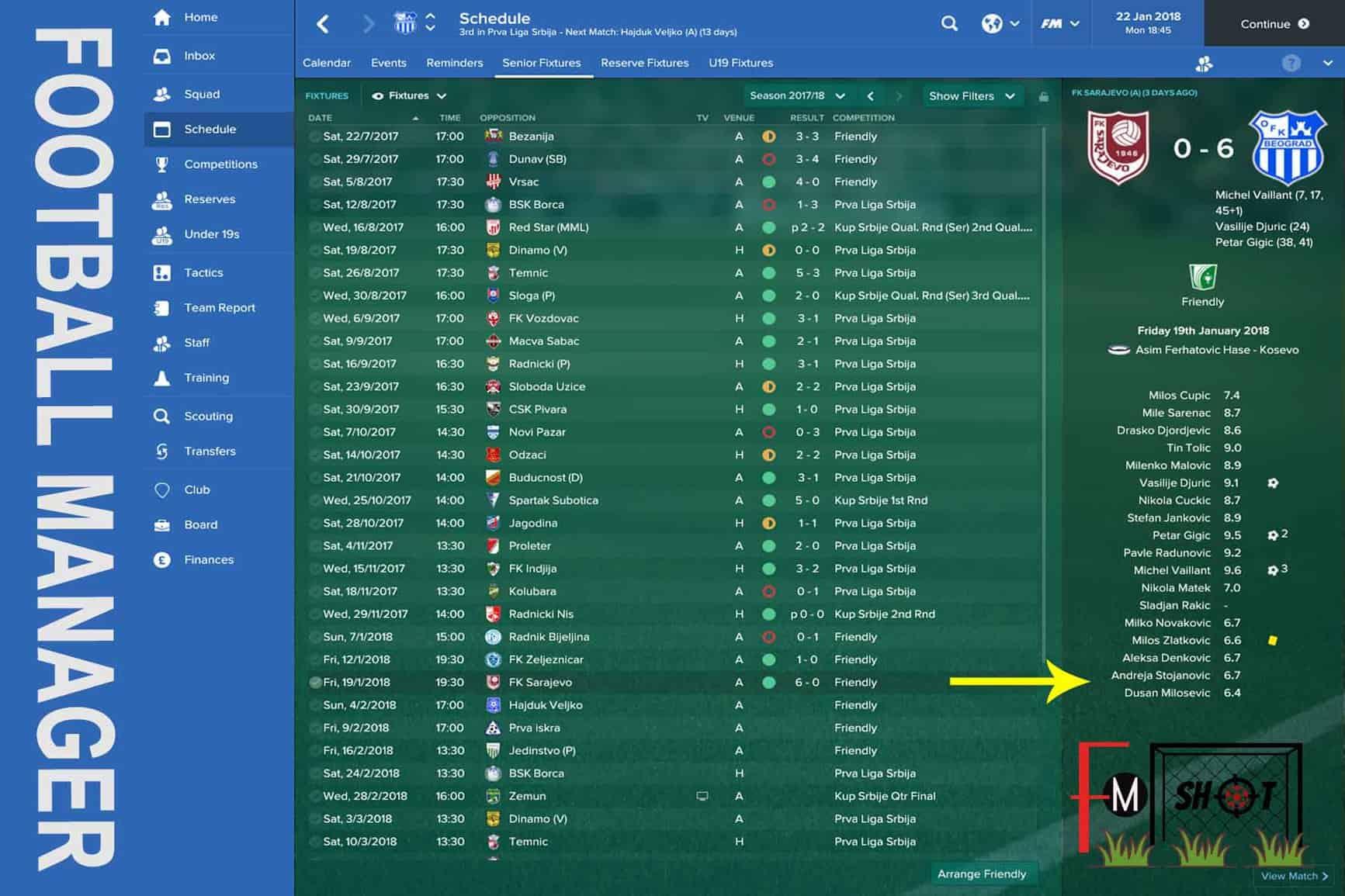 OFK Beograd Fixtures