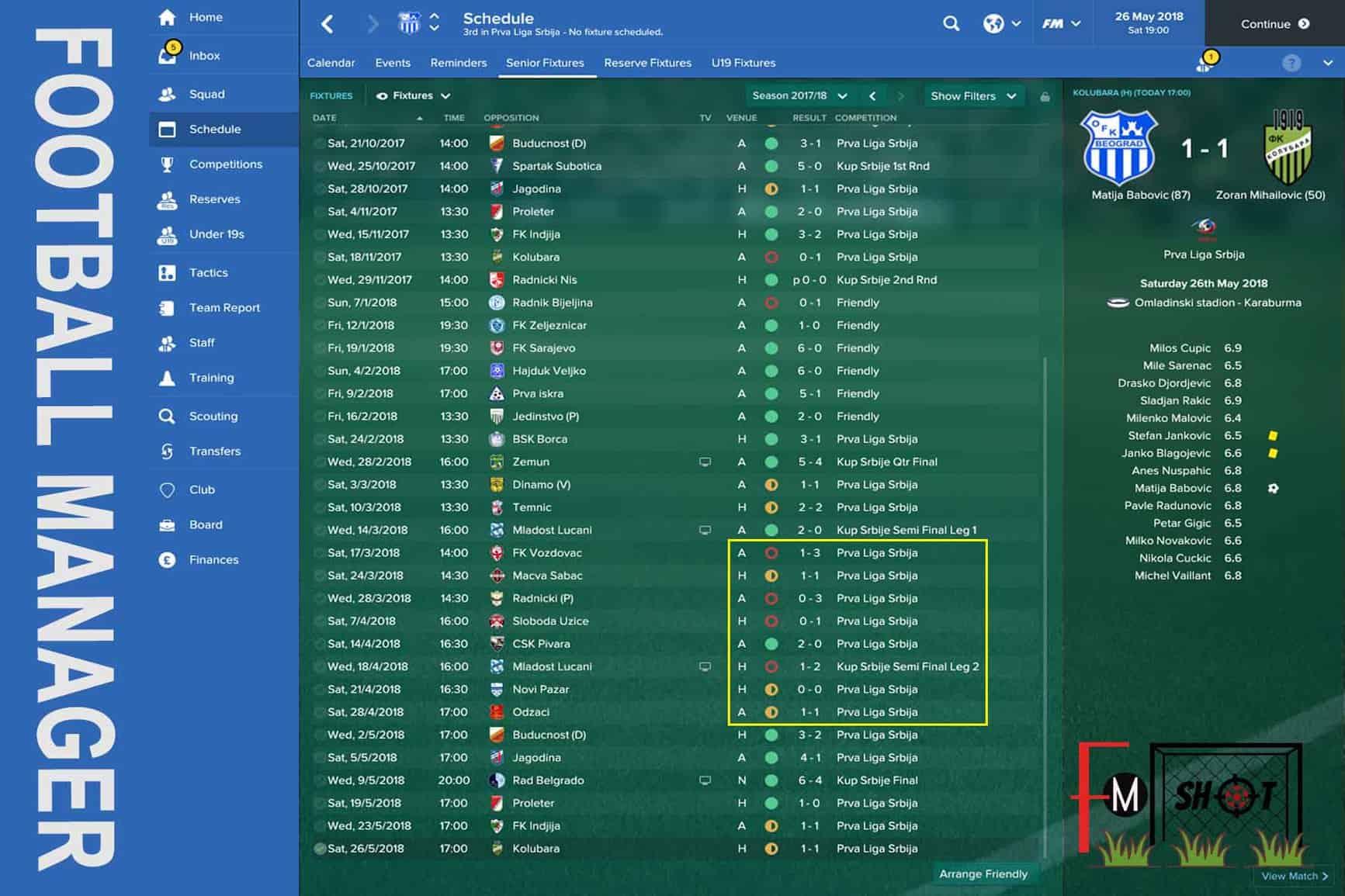 Senior Fixtures