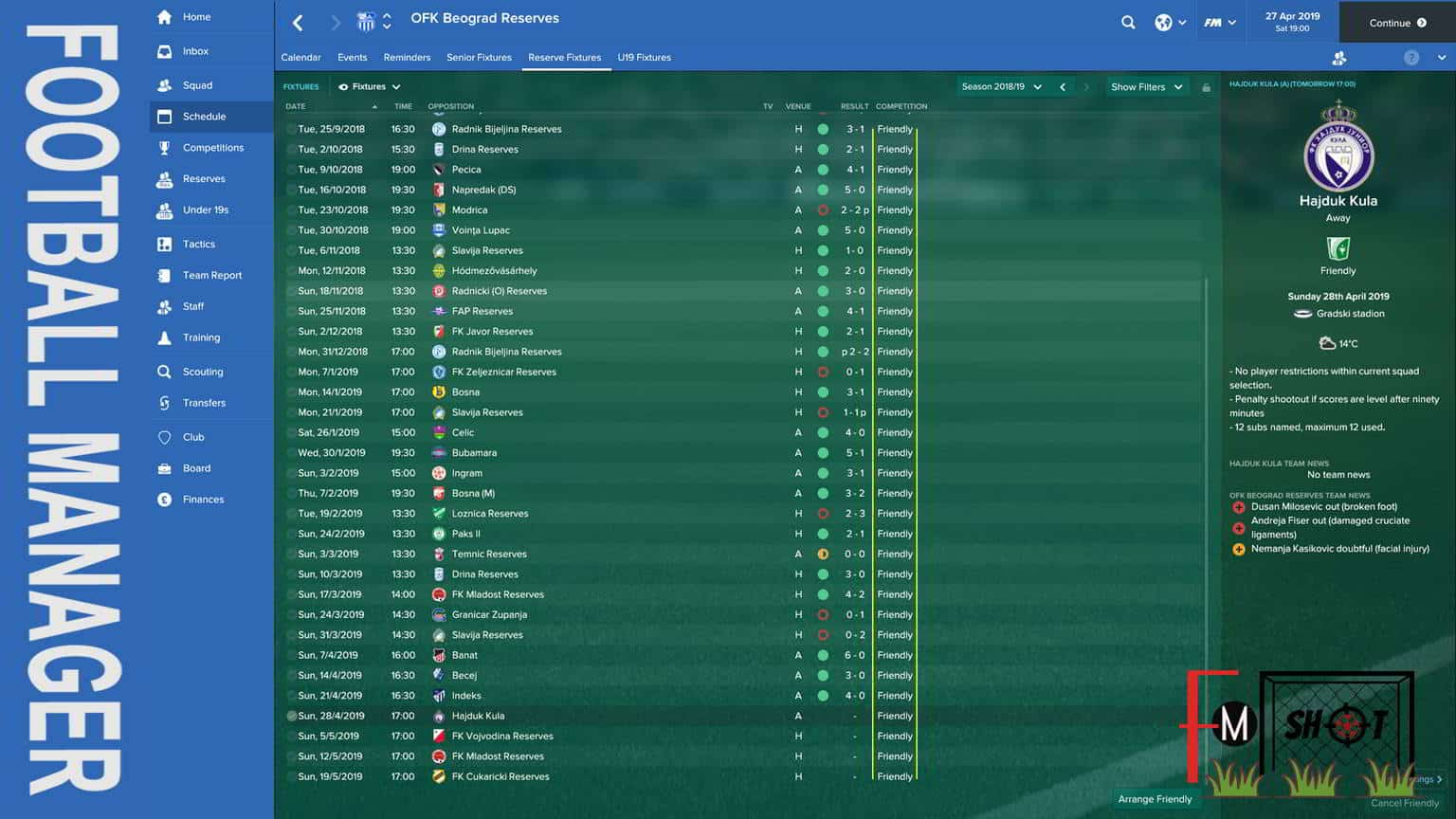 B Team - Fixtures