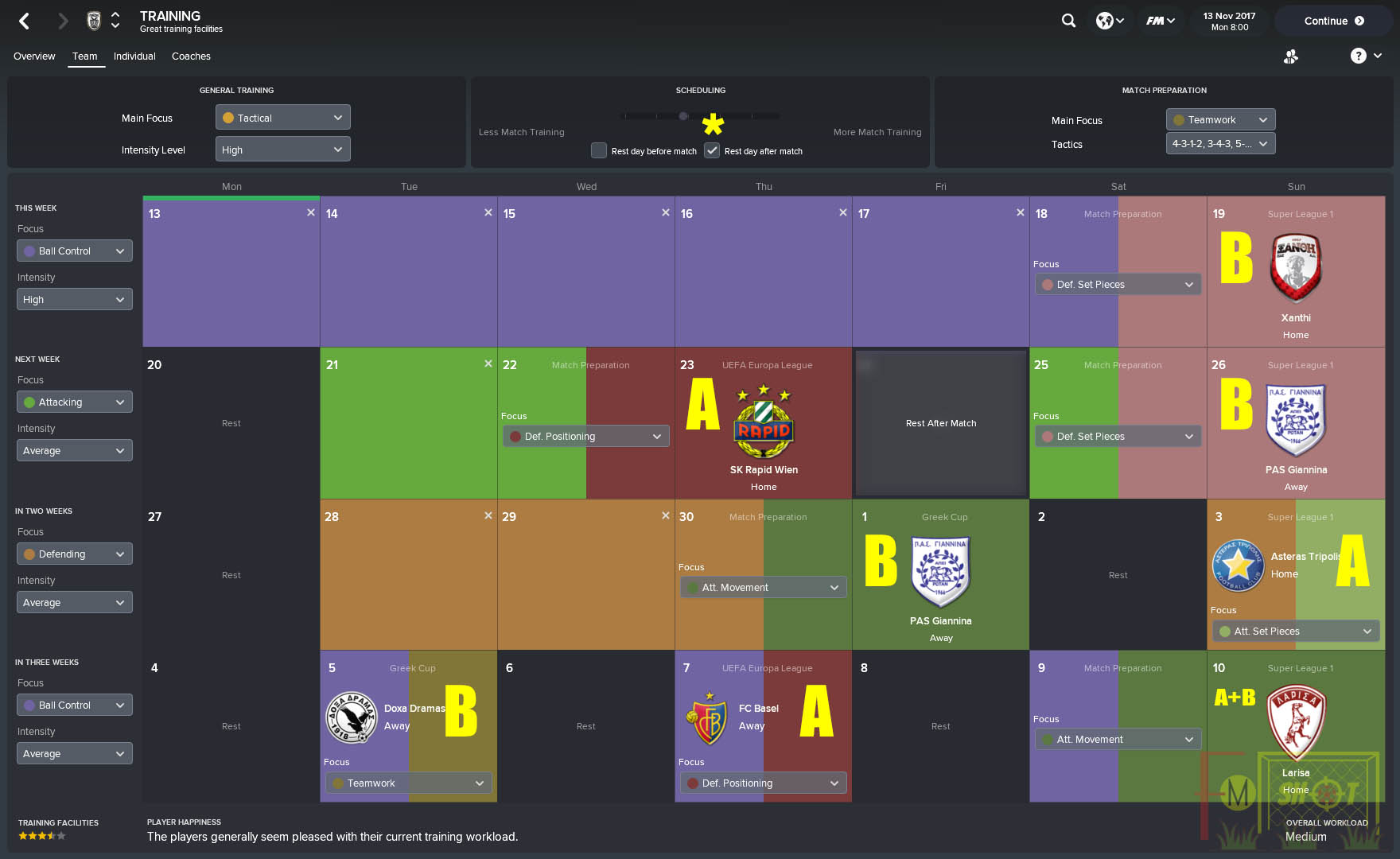 Training Schedule and Matches